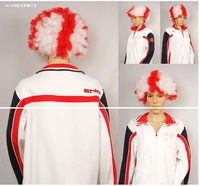 England 2014 Brazil World Cup Bubble Explosion Wig Football Fans Games Festival Costume Cosmetic Party Cosplay Props