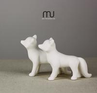 Forest Department of Animal fox matte white ceramic ornaments home furnishings creative props zakka