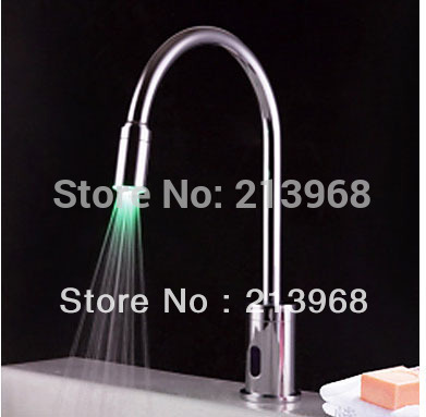 Contemporary Brass LED Sensor Chrome Finish Bathroom Sink Faucet ,good quality tap(China (Mainland))