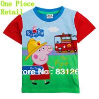 Free Shipping 2014 Summer Peppa Pig Clothing Fashion Baby Boys T shirt Printed George Pig Children Clothes Kids Clothing