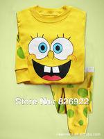 NEW Plus velvet, Yellow Spongebob squarepants Baby Toddler Kid's Boys Girls Sleepwear Pajama Set Pant Size 2T-7T LKM022