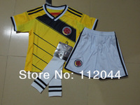 Top quality Colombia Home World Cup 2014  Baby  Kids /  Youth  soccer  jersey Shorts  SOCKS   uniform kit   Free Shipping