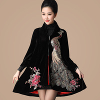Free shipping 2013 gold velvet embroidery quinquagenarian mother clothing autumn outerwear trench 288