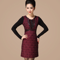 Free shipping 2013 autumn and winter mermaid fish scales faux two piece fashion elegant one-piece dress