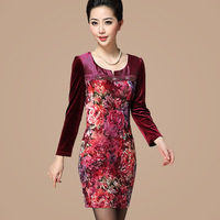 Free shipping 2013 pattern plus size long-sleeve dress