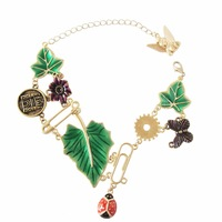 leaves, butterflies, ladybugs bracelet, plants and animals bracelet  free shipping 10pcs/lot
