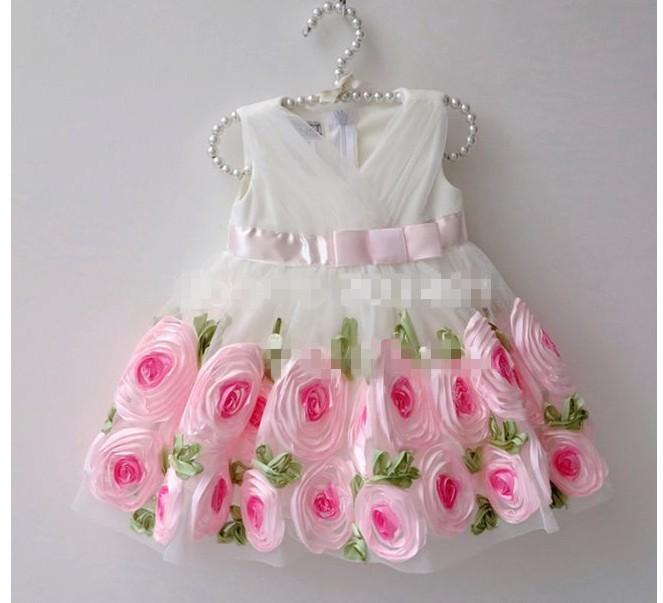 New 2014 girls beautiful princess dress Baby white with pink flowers party dresses childrens summer sleeveless wedding dress(China (Mainland))