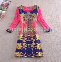 new European style women slim plus size print nine tenth sleeve dress/ high quality winter dress women / size M,L,XL,XXL,3XL,4XL