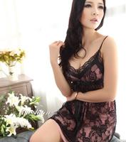 Sexy sleepwear female faux silk temptation spaghetti strap nightgown lace underwear lounge female
