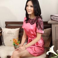 Women's short-sleeve faux silk sleepwear female sexy nightgown the temptation to lace sleepwear lounge female
