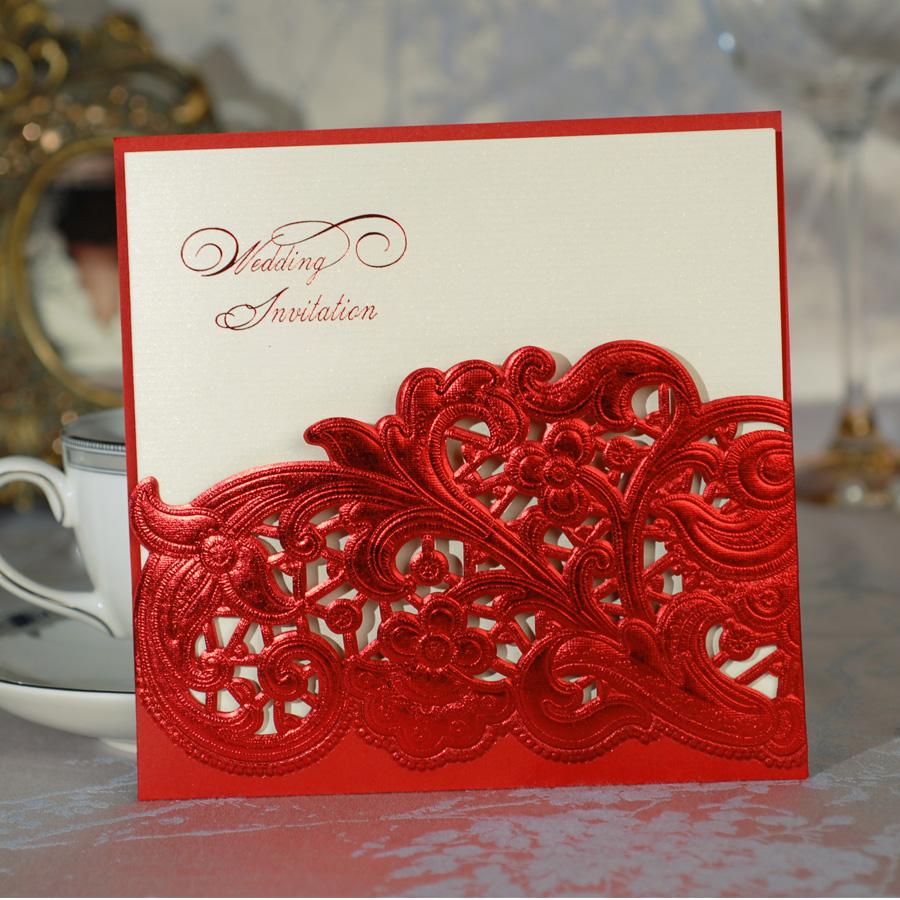 Best Wholesale Free Print Laser Cut Lace Red Wedding Invitation – Cheap Red Wedding Invitations