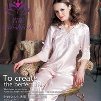Spring and summer sexy V-neck silk sleepwear female set the temptation to lace three quarter sleeve sleepwear pajama pants