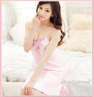 Sexy spaghetti strap nightgown faux silk sleepwear female temptation lace embroidered nightgown princess nightgown