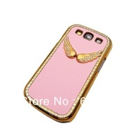 Angel Wing PU Leather Baby Pink Chrome Case For Samsung Galaxy S III S3 I9300