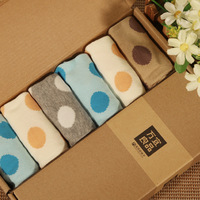 Socks sock slippers summer 100% big dot cotton candy color socks gift box socks