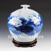 cheap Ceramics blue and white  vase pomegranate bottle lotus pattern jingdezhen porcelain decoration free shipping wedding gift