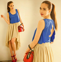 2014 spring summer Elegant falbala backless joker hollow chiffon women blouse WCX111