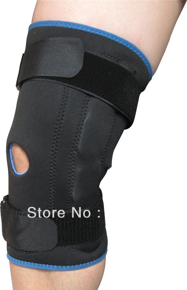 Free Shipping Neoprene Knee Adjustable Hinged Support Stabilizer Brace Patella Compression Sleeve Patellar Wrap Small Black+2PCS(China (Mainland))