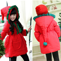 Retail--  Merry Christmas! Christmas girls winter coat cotton coat long section pointy hat Children 2014 New Year coat
