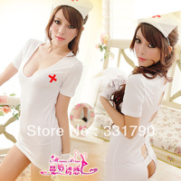 Free Shipping  016532  Women's Sexy Nurse Costume With Hat and T-strings For Sale
