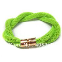 OEM Popular Colored Rainbow Sparkling Mesh Double Line Magnetic  Bracelet