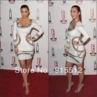 Sexy Bodycon Scoop Neck Long Sleeve Sequined   Rayon Bandage Dress Kim Kardashian Celebrity Dresses