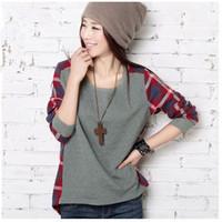 New Fashion Women Loose Cotton Plaid Long Sleeve Blouse Top Shirt Plus size S, M, L, XL, XXL, XXXL