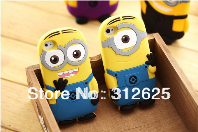 Despicable Me Minions 3D Silicone Case cover for iphone 4 4S Free Shipping(China (Mainland))