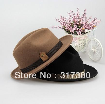 6pcs 2014 Western Men Wool Stingy Brim Fedoras Mens Winter Trilby Hat