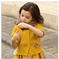 Wholesale--4pcs/lot 2014 New Spring  Korean children's clothing   girls floral pocket sweater  knitting sweet sweater