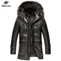 THOOO  sheepskin down coat fur hooded one piece men's clothing medium-long genuine leather clothing 2645