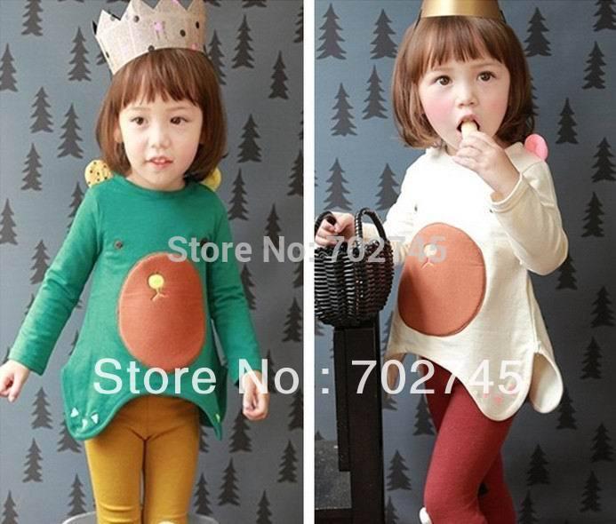 Phelfish 2014 New Design Girl T-shirts 13942 Children Clothes Cute Animal Long Sleeve T-shirts For Girl(China (Mainland))