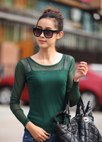 Hot!!! Women lady girl quality clothing lace T shirts with rhinestones sexy tops Long sleeve base clothes dress Y03086