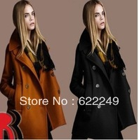 Autumn 2013 fashion british style woolen overcoat plus sizecasual fashion wool coat outerwear for women