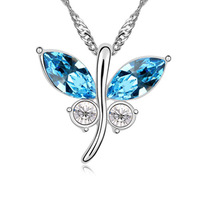 Silver new arrival austria crystal necklace female butterfly necklace short design chain