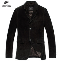 THOOO  autumn scrub suede sheepskin business casual genuine leather suit male leather clothing 2368