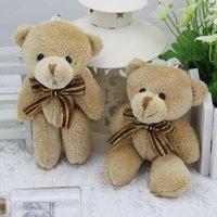free shipping 24pcs/lot 12CM brown mini joint  teddy bear,brown bear toy bouquet material/wedding gift,kawaii small bear