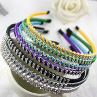 Lady Girl Women Hair Bands Headbands Hair Clips Ties Solid Color Silk Crystal Diamond Bridal Wedding Hair Accessories 10pcs/lot