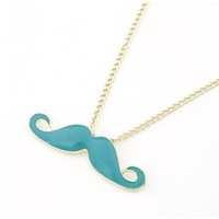 Wholesale Personality candy color Mustache Necklace Pendants