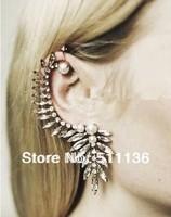 2014 Hot sale Stunning Fake Pearl Bead Crystal Gold Ear Cuff  Punk Emo Goth Celebs Style Fashion  KK-SC382