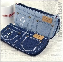 Hot-selling denim shorts big capacity pencil case pencil case cosmetic bag canvas coin purse storage bag(China (Mainland))