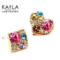 free shipping new 2014 fashion beautiful rhinestone shining pink heart plaid stud earring female sweet anti-allergic earrings e3