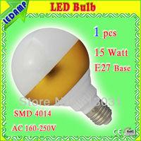 1PC ultra bright 15w lamp led e27 smd 4014 epistar 1500 lumens warm white / cool white ac 220v 230v 240v golden ball bulb lamp