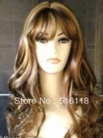 free shipping 1Charming long brown blonde mix health hair wig wigs+WEAVING cap
