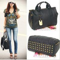 Free shipping,hot sell!!! fashion black women's handbag bag fashion british style rivet messenger bag dual-use portable