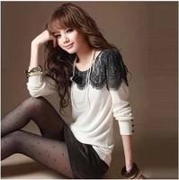 Plus size clothing autumn mm 2013 female all-match lace patchwork basic shirt t-shirt female long-sleeve