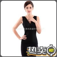 wholesale 18pcs women black V-neck vest double plus thick velvet warm body shaper underwear