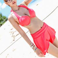Biquinis Women Swimsuit New Skirt Bikini Swimwear For Women Hot Spring Female Steel Push Up Beachwear Halter-neck Free Shipping