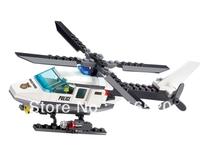 Kazi Police Helicopter Building Block Sets 102pcs Educational Assemblage Bricks Toys For Children