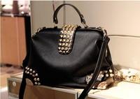 Free shipping,hot! fashion 2014 women's handbag vintage fashion rhinestone rivet handbag PU women leather handbags,1 pcs/lot